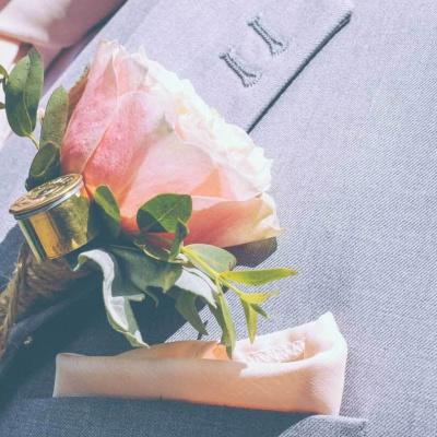 Floral Lounge Peach buttonhole